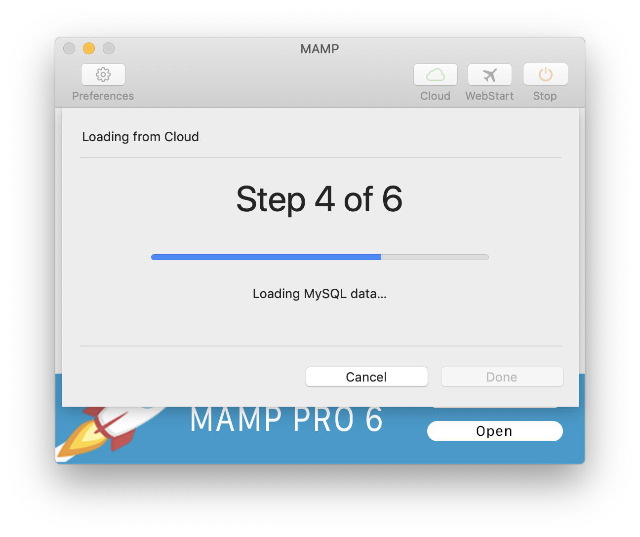 MAMP - Cloud - Load from Cloud