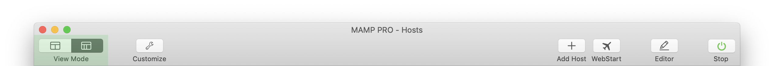 MAMP PRO - Toggle View Mode