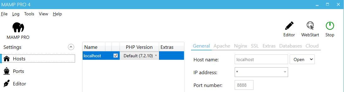MAMP PRO (Windows) Documentation > First Steps > View Localhost