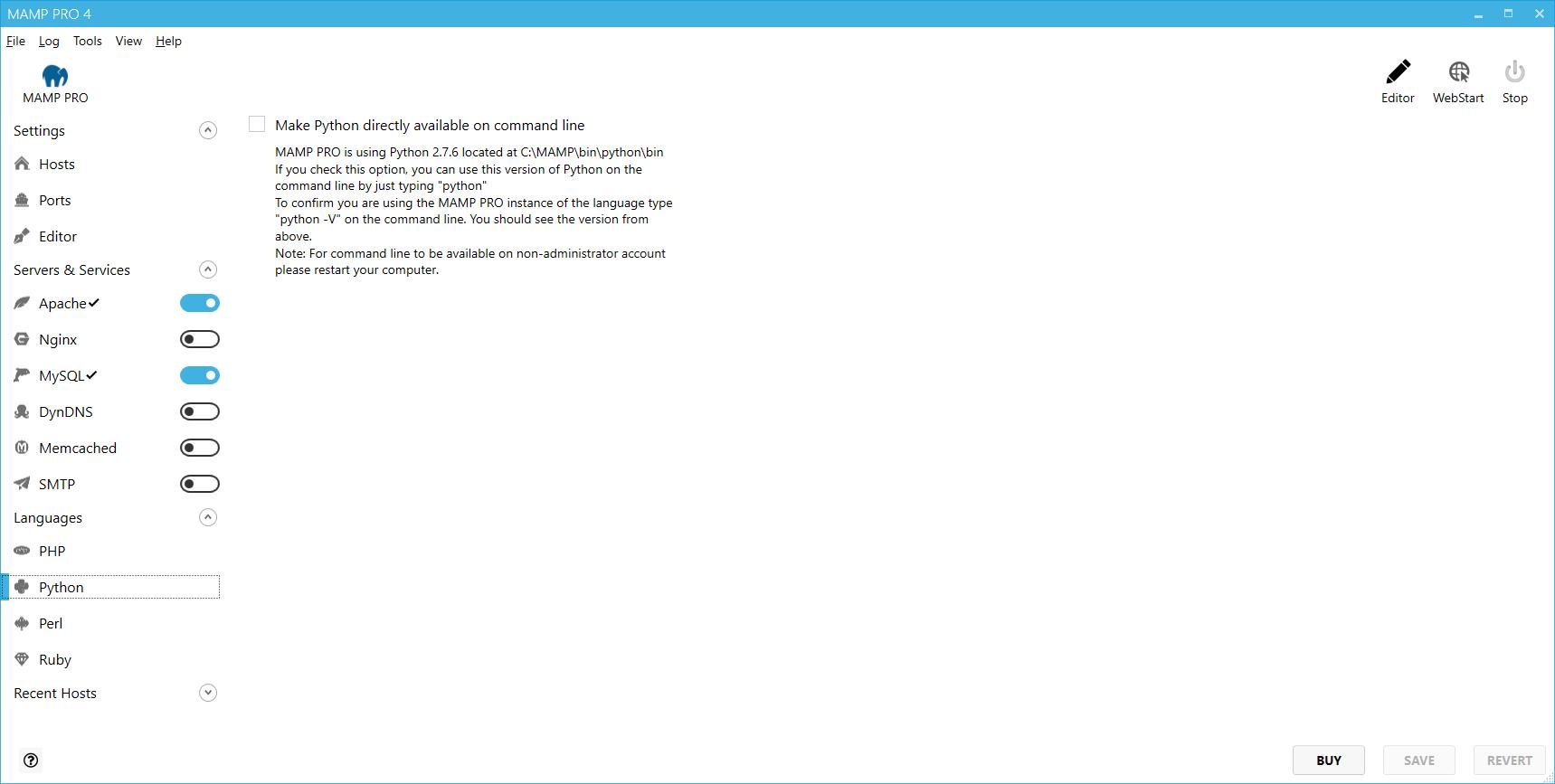 MAMP PRO (Windows) Documentation > Languages > Python