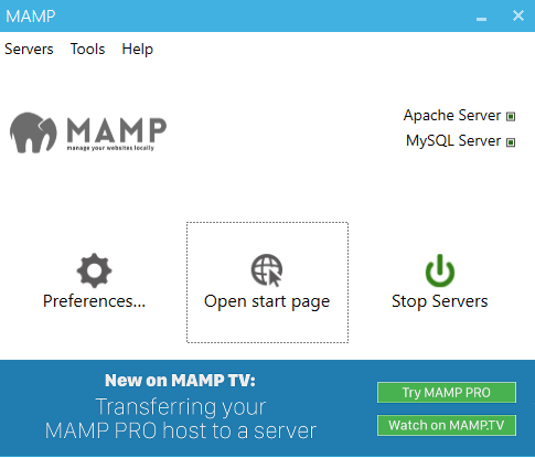 MAMP (Windows) Documentation > First Steps